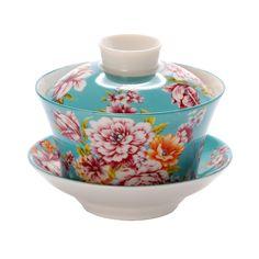 Gaiwan tea cup: Sky Blue Dahlia