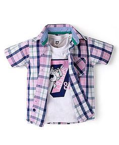 Baby League Checks Shirt With Round Neck T-Shirt - Light Pink White http://www.firstcry.com/baby-league/baby-league-checks-shirt-with-round-neck-t-shirt-light-pink-white/663730/product-detail