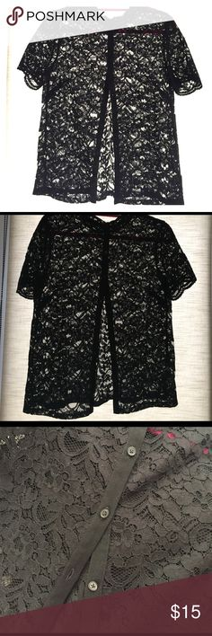 Lacy Top - LOFT Black lace top from LOFT. Buttons in back. High-collar. LOFT Tops Blouses