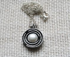 Pearl and sterling silver maze necklace orbit by DeDeMacDesigns