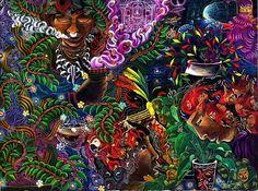 "Pablo Amaringo    ""Auca Yachai""    http://shamanism.wordpress.com/2012/11/14/the-ayahuasca-visions-of-pablo-amaringo-interview-on-examiner-com/auca-yachai/"