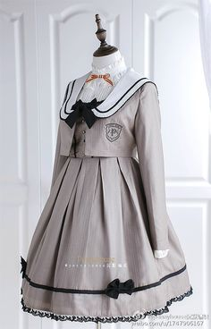 Gray Dress With Black Bows And Sailor Collar