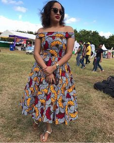 African print off the shoulder midi dress -Ankara Midi dress- dress-Ankara dress -African clothing - Latest African Fashion Dresses, African Dresses For Women, African Print Dresses, African Print Fashion, African Attire, African Wear, African Clothes, Ankara Fashion, Fashion Outfits