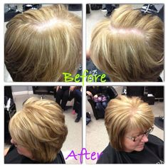 Model number two! Lori from The Hair Studio in Grand Rapids, MI.  Foundation:: 3/4 10N +1/4 9A + 1oz 20 Vol Accent One: 3/4 7B + 1/4 7N mixed 1:2 with 9vol Activator Accent Two: Lightener+10vol Processed for 40 minutes then glazed with 9PV mixed 1:2 with 9vol Activator | Kenra Professional. Kenra Color. Hair Color.