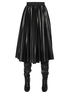 PLISSE FAUX LEATHER SKIRT