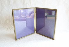 Vintage 8x10 Picture Frame, Folding Brass Double Photo Frame, Mid Century