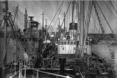Trawlers Northern Duke (GY442), left, and Yardley (GY81) in dock at Grimsby in the 1950s.