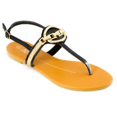 Medallion T-Strap Slingback Sandals Black   Danice Stores