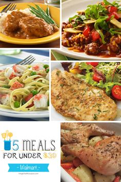 FREE Weekly Meal Plans - 5 Meals for Under $30 at Walmart