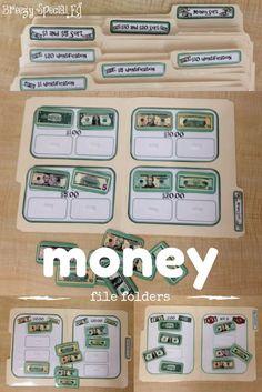 Simple Money Sorting File Folders for Special Education Life Skills Classroom, Life Skills Activities, Teaching Life Skills, Math Classroom, Math Activities, Math Lessons, File Folder Activities, Folder Games, Vocational Tasks