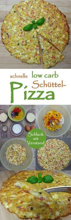 low carb Schüttel-Pizza 1 100 g Hüttenkäse  80 g Mozzarella (oder 1/2 Kugel)  50 g Parmesan  2 Eier, Gr. M  10 g Flohsamenschalen (2 EL)  1/2 Paprika  1 Tomate  1 kleine rote Zwiebel  1 Knoblauchzehe  8 Blätter Basilikum  1 TL Salz, 1/2 TL Pfeffer, etwas Oregano