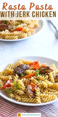 Make the BEST chicken rasta pasta - right at home! You are going to love this easy rasta pasta recipe with jerk chicken. It's colorful and simple to make, and it's packed with flavor! Everything about this rasta pasta recipe is easy to make - including the famous jerk chicken pasta seasoning! #SundaySupper #jerkchicken #rastapasta #jerkseasoning #easyrecipes #dinners #pastas #pastarecipes Sunday Dinner Recipes, Supper Recipes, Jerk Chicken Pasta, Rasta Pasta Recipe, Sunday Suppers, Perfect Food, Main Courses, Pasta Recipes, Family Meals