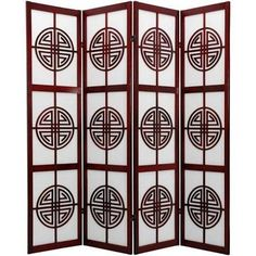 6' Tall Long Life Shoji Screen, 4 Panel, Rosewood, Room Dividers ...