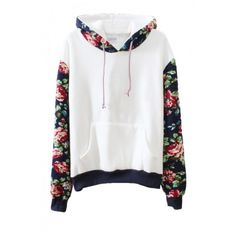Flora Print Contract Hem Belt Pocket Detail Hoodie found on Polyvore
