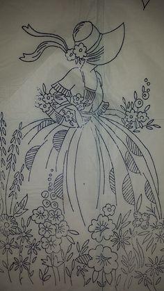 Vintage Robin Embroidery Crinoline Lady Transfer Pattern 8097