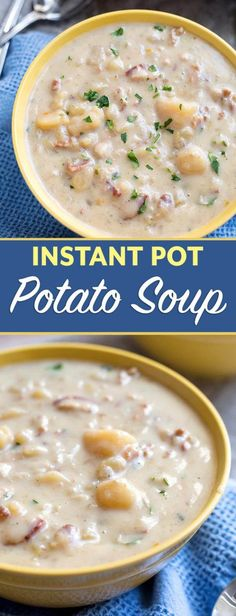 Instant Pot Simple Potato Soup is a creamy, savory potato soup recipe that is easy to make and tastes delicious. Pressure Cooker potato soup is comforting and simply tasty. simplyhappyfoodie.com #instantpotrecipes #instantpotpotatosoup #instantpotsoup #pressurecookerpotatosoup