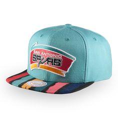 098eb63100b San Antonio Spurs Men s Mitchell and Ness Fiesta HWC Paint Stripes Snapback  Hat - Teal