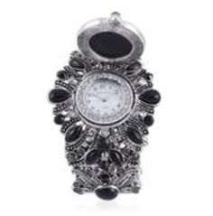 Strada Black Austrian Crystal Japanese Movement Watch In Silvertone