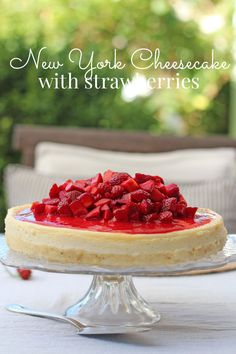 New York Cheesecake with Strawberries ~ a classic that will never grow old. #eMealsBakes