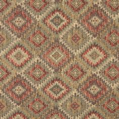 J764 Green, Gold And Red Diamond Southwest Upholstery Fabric By The Yard 1