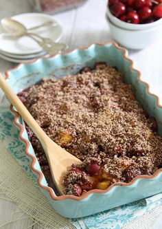 Peaches and cherries blend together in a gluten free crisp sweetened with honey. Quinoa and almond flour make a great tasting, protein-filled topping too.
