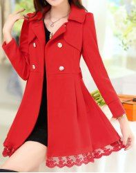Stylish Turn-Down Collar Long Sleeve Double-Breasted Lace-Up Women's Coat