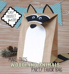 Woodland Animals Party Ideas with Free DIY Raccoon Favor Bag Template bag for kids birthday Party Animals, Kids Animal Party, Kids Animals, Forest Party, Woodland Party, Woodland Theme, Pochette Surprise, Fox Party, Party Party
