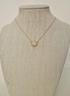 Vintage Glass Fire Opal Necklace