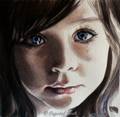 watercolor portrait original painting young girl by CrystalCookArt