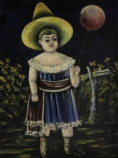 Niko Pirosmani - Girl with ball. WikiArt.org