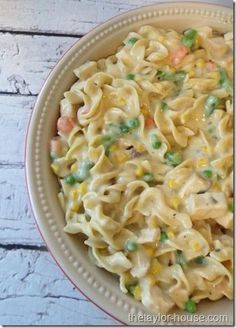 This was great, almost like chicken pot pie with pasta instead of crust. Easily doubled! -CV