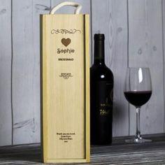 Engraved Wedding Wooden Wine Box - Heart Design Photo 2