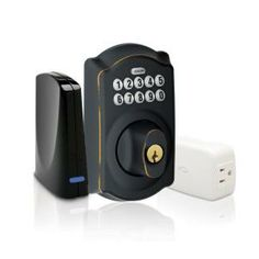 Schlage Aged Bronze Keypad Deadbolt Home Security Kit with Nexia Home Intelligence-BE369GRNX CAM 716 at The Home Depot