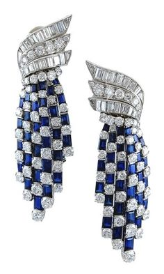 H D Diamonds is your direct contact to diamond trade suppliers, a Bond Street jeweller and a team of designers.www.handddiamonds... Tel: 0845 600 5557 - Sapphire Diamond Earrings | Van Cleef and Arpels