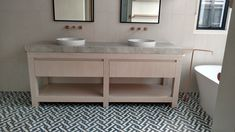 Stylish symmetry in this beautiful designer bathroom with rose gold features, created by Creative Cabinets. Double Vanity, Cabinets, Bathrooms, Rose Gold, Stylish, Creative, Beautiful, Design, Armoires