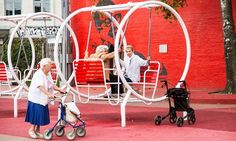 elderly women enjoying the playground in the Superkilen park in Norrebro