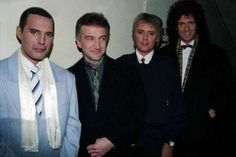 The band backstage at 'The Brits' in London on 18th February 1990.