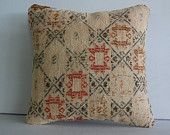"16x16""outdoor pillow kilim pillow cover bohemian throw pillow case couch pillow accent pillow sofa decorative pillow turkish cushion beige"