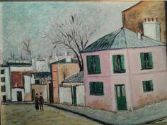 """Copia da: """"La casa rosa"""" di Maurice Utrillo. Olio su tela"""