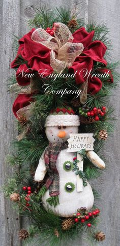 Happy Holidays Snowman Swag by NewEnglandWreath