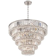 """Magnificence Satin Nickel 24 1/2"""" Wide Crystal Ceiling Light"""