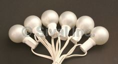 G40 Globe Wedding Light String Set, 25 Lights, White Cord, Pearl White or Clear Bulbs, pack of 12