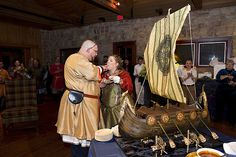 That is a cake, shaped like a Viking ship. AWESOME.