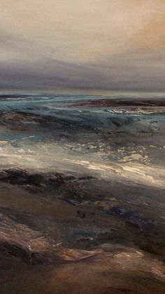 A moody atmospheric semi abstract painting of a distant view by British artist Michael Claxton... view michaels latest original artwork here #michaelclaxton #artist #newart