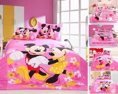 bright pink mickey minnie mouse character printing bedding sets girls home decor Egyptian cotton twin full queen sz duvet covers Minnie Mouse Bedding, Mickey Mouse Bedroom, Girls Comforter Sets, Kids Bedding Sets, Dorm Room Bedding, Crib Bedding, Full Size Bed Sets, Cute Dorm Rooms, Kids Rooms
