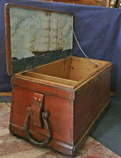 - Sailors Sea Chest With Painting of Ship CAMBRIAN MONARCH Painted On Inside Lid…
