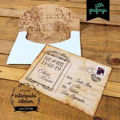 Tarjetas invitaciones originales con sobres forrados para Casamientos Bodas 15 Años! Estilo postal vintage... #tarjetas #invitaciones #bodas #15años #invitacionesdeboda #vintage I Card, Invitations, Envelopes, Birthday Cards