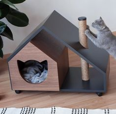 Modern dog and cat house/dog bed/cat bed/wooden pet house/modern pet house/modern pets furniture/dog – Monkey Stuffed Animal Diy Cat Bed, Cat House Diy, Cool Cat Beds, Pet Beds, Dog Bed, Cat Bedroom, Bedroom Ideas, Cat Shelves, Dog Furniture