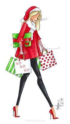 Unique Christmas Cards, Christmas Images, Christmas Art, Christmas Presents, Ballet Fashion, Fashion Art, Cocktails Drawing, Christmas Fashion Outfits, Christmas Cartoons