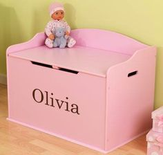 Charmant Modern Touch Personalized Toy Box   Pink